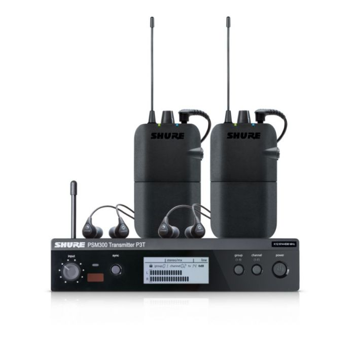 Close Up of Shure PSM300 Twinpack Wireless Monitoring System
