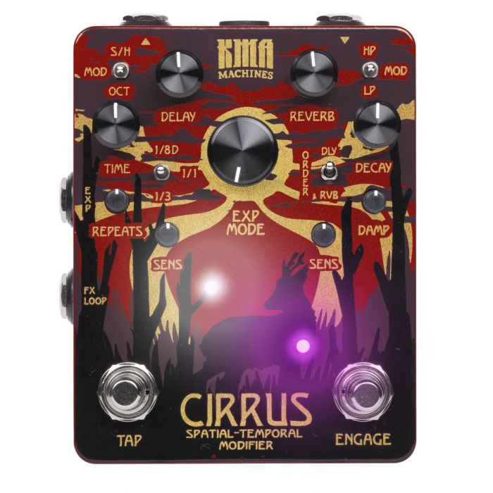 Top down view of an activated KMA Audio Machines Cirrus Delay and Reverb Pedal with lit LED's