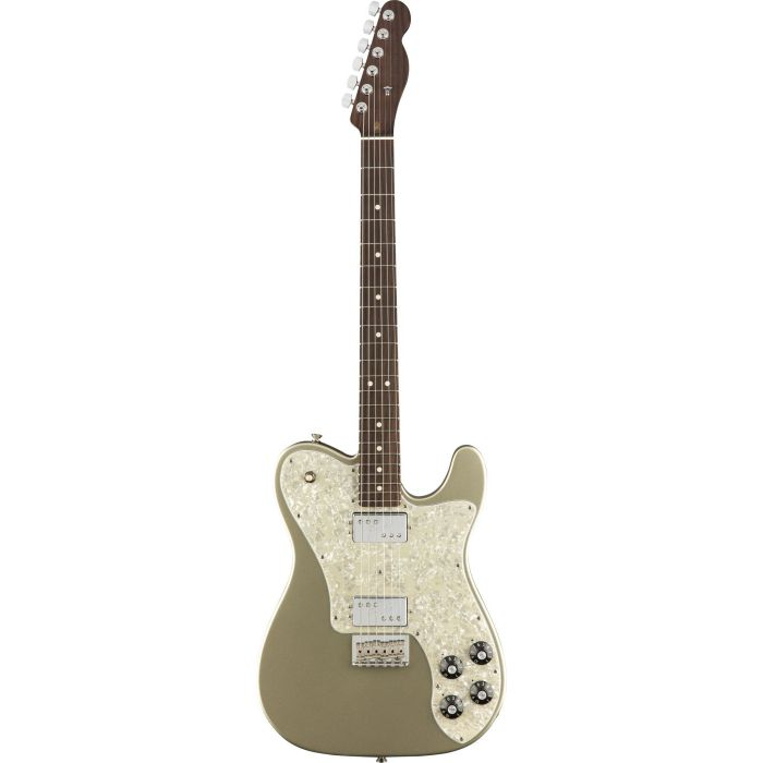 Full frontal view of a Fender FSR American Professional Tele Deluxe Rose Champagne limited edition guitar