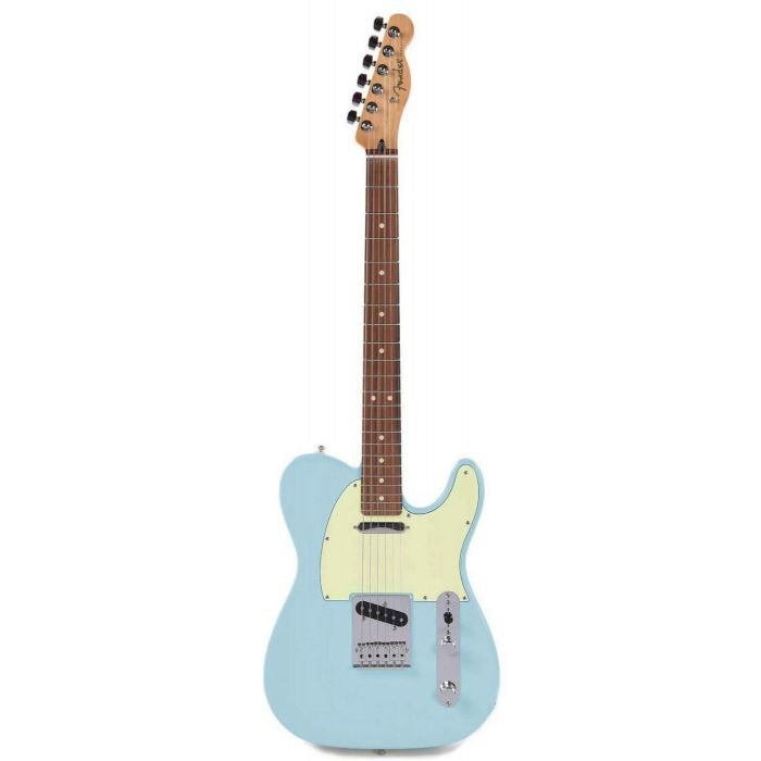 Full frontal view of a Fender Player Telecaster Limited Edition PF Daphne Blue electric guitar