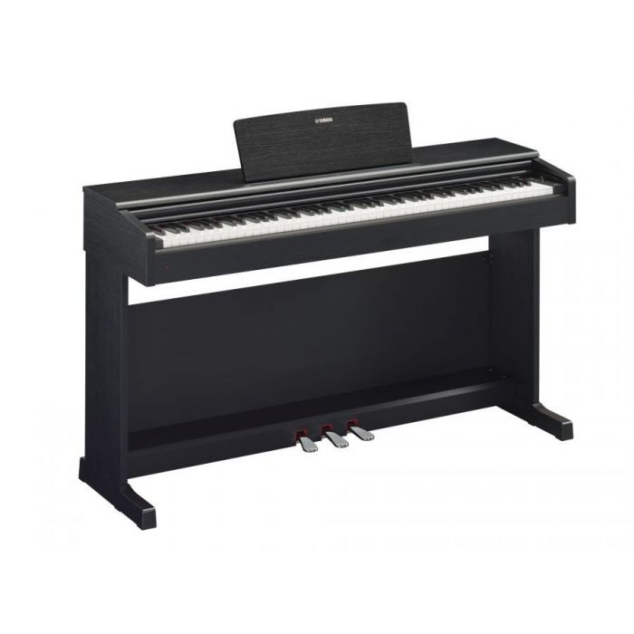 Full angled view of a Yamaha YDP-144 Arius Digital Piano Black Walnut