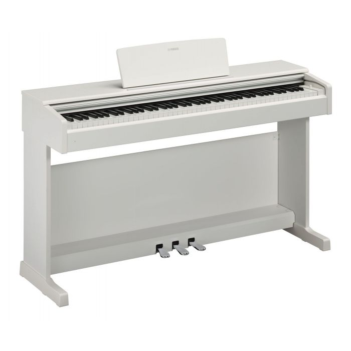 Front angled view of a Yamaha YDP-144 Arius Digital Piano in White Satin