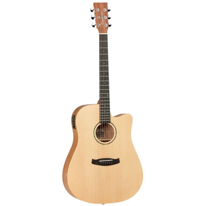 Full frontal view of a Tanglewood TWR2 DCE Natural Satin Acoustic Guitar