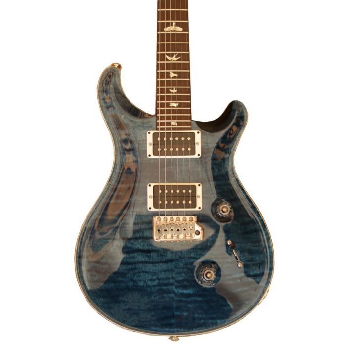Closeup front vie wof the body on a PRS Ltd Edition Custom 24 Whale Blue Electric Guitar
