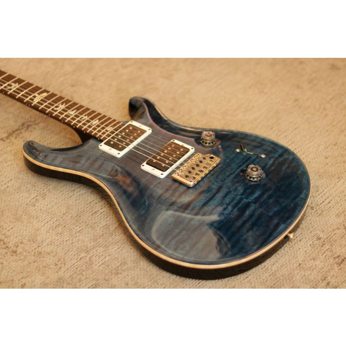 Closeup front angled view of a PRS Ltd Edition Custom 24 Whale Blue Electric Guitar