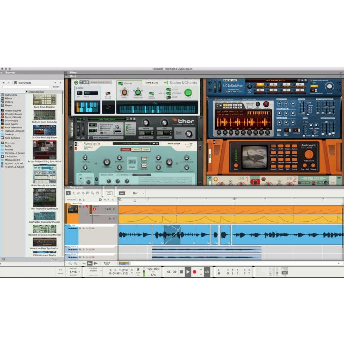 Screenshot of the sequencer section within Reason 11