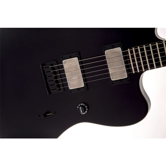 Closeup view of the pickups on a Fender Jim Root Jazzmaster Electric Guitar Flat Black