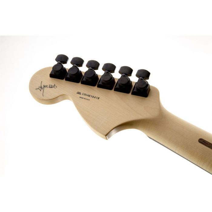Closeup rear view of the headstock on a Fender Jim Root Jazzmaster Electric Guitar Flat Black