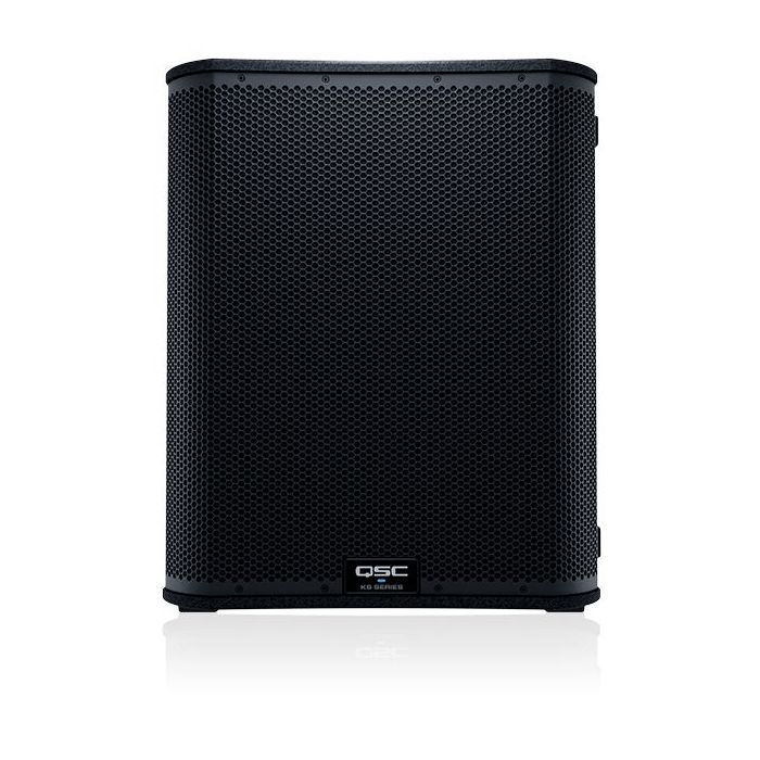 Full frontal view of a QSC KS118 Active Subwoofer