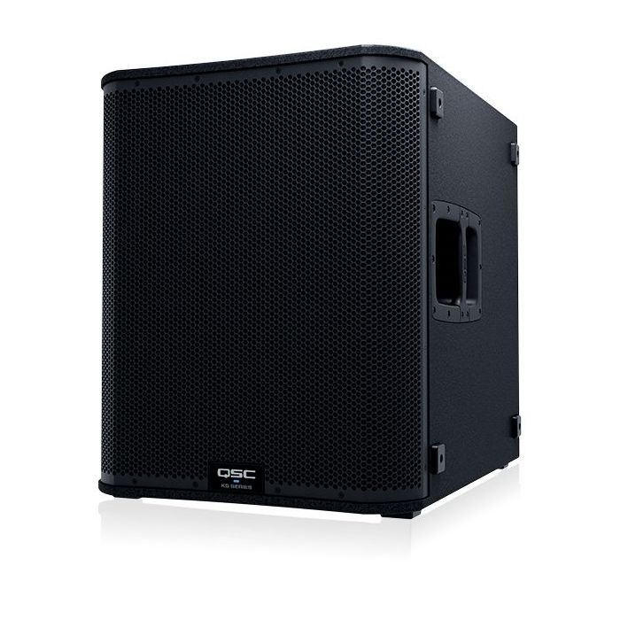 Front left angled view of a QSC KS118 Active Subwoofer