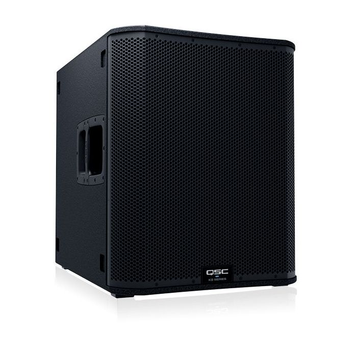 Front right angled view of a QSC KS118 Active Subwoofer