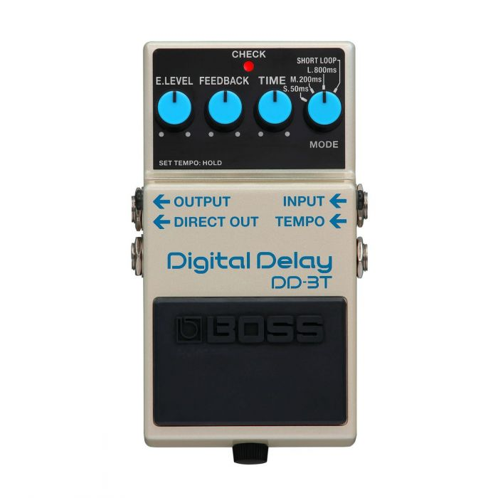 Top down view of a new Boss DD-3T Digital Delay with tap tempo