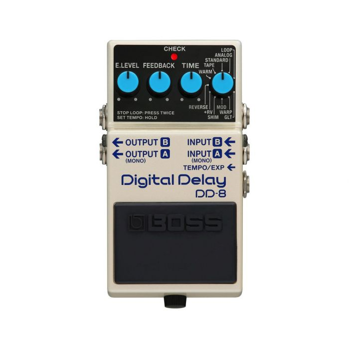 Top down view of a Boss DD-8 Digital Delay Pedal