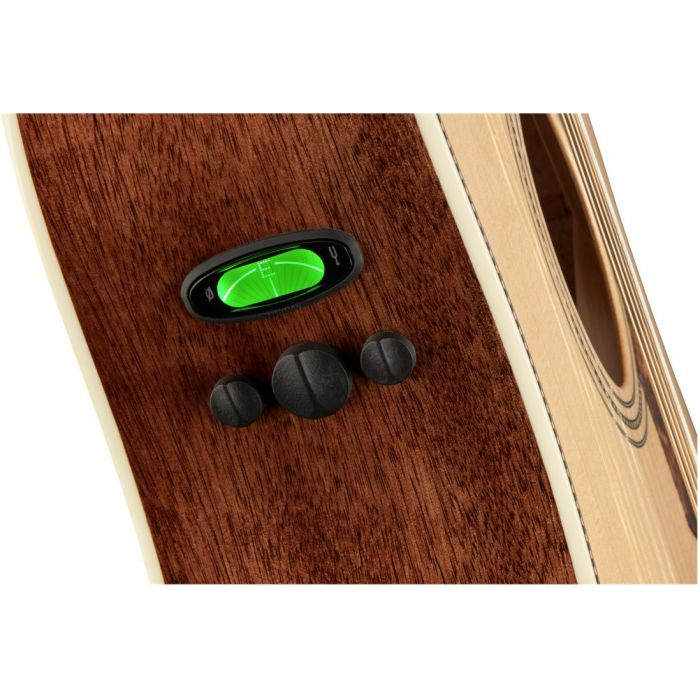 Closeup of the preamp controls on a Fender PM-1 Ltd Adirondack Dreadnought Electro Acoustic w Case