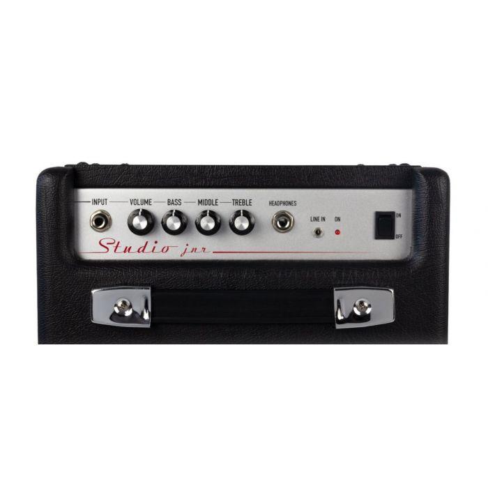 Top-down view of the control panel on an  Ashdown Studio Junior 15 watt Bass Combo amplifier