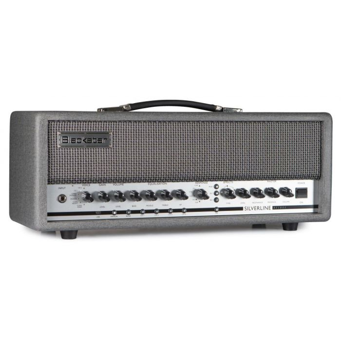 Front left-angled view of a Blackstar Silverline Deluxe Head 100 watt Guitar Amp