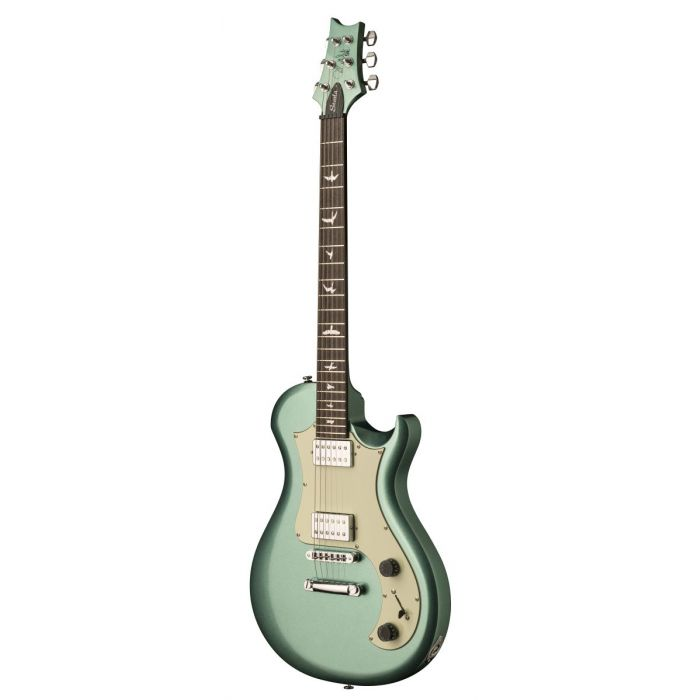 Front angled view of a PRS SE Starla Frost Green Metallic Electric Guitar