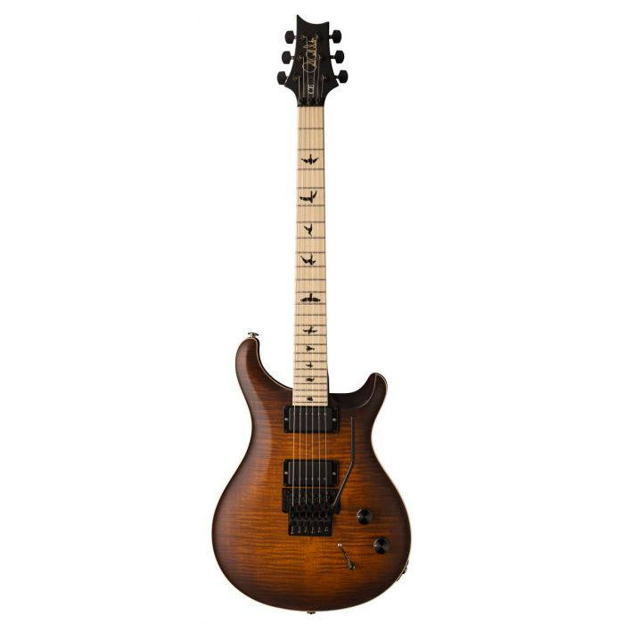 Full frontal view of a PRS DW CE24 Floyd Burnt Amber Smokeburst Guitar
