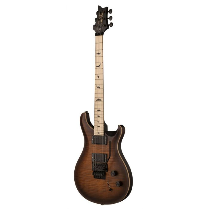Front angled view of a PRS DW CE24 Floyd Burnt Amber Smokeburst Guitar