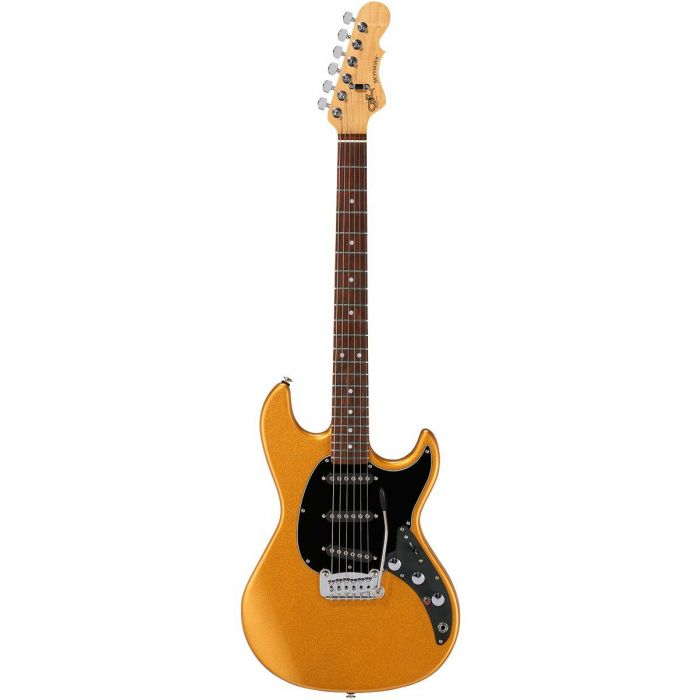 Full frontal view of a G&L CLF Research Skyhawk Guitar in Pharoah Gold