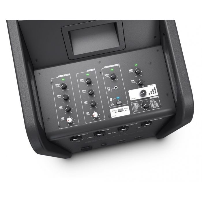 Top-down view of the mixing desk on a LD Systems CURV 500 PS Portable Array System Power Set subwoofer