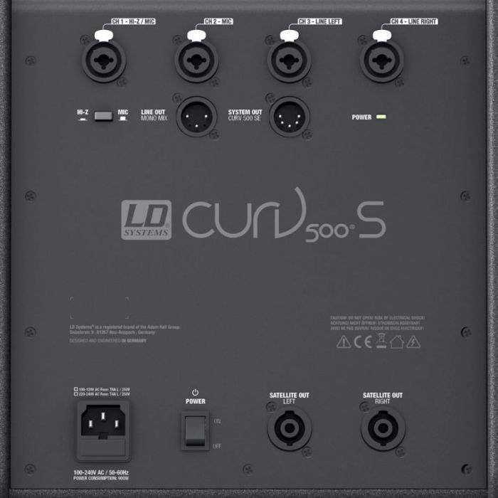 Closeup rear-sided view of the subwoofer from a LD Systems CURV 500 PS Portable Array System Power Set