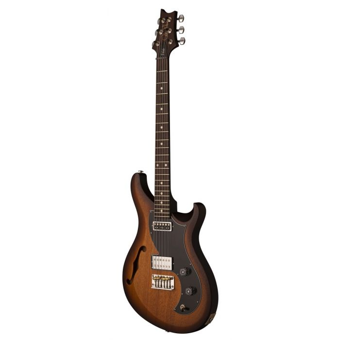 Front right angled view of a PRS S2 Vela Satin Semi Hollow Guitar McCarty Tobacco Sunburst