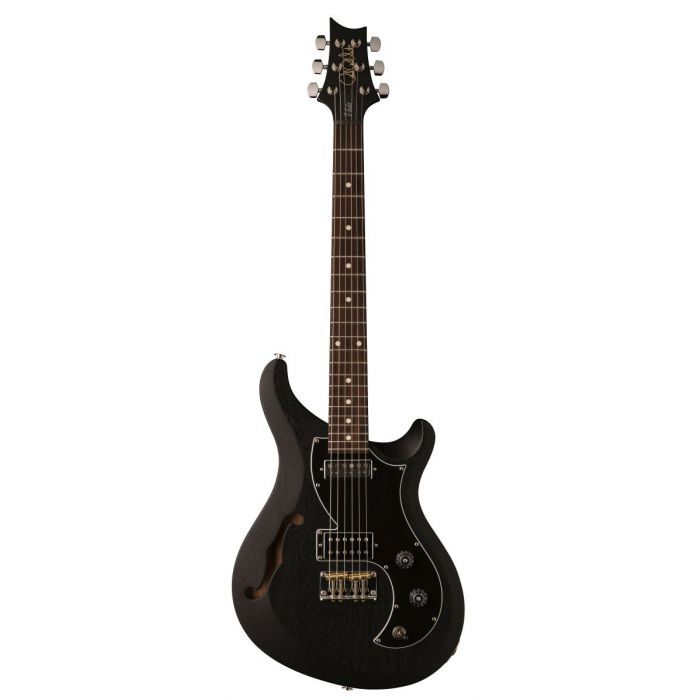Full frontal view of a PRS S2 Vela Satin Semi Hollow Guitar Charcoal Satin