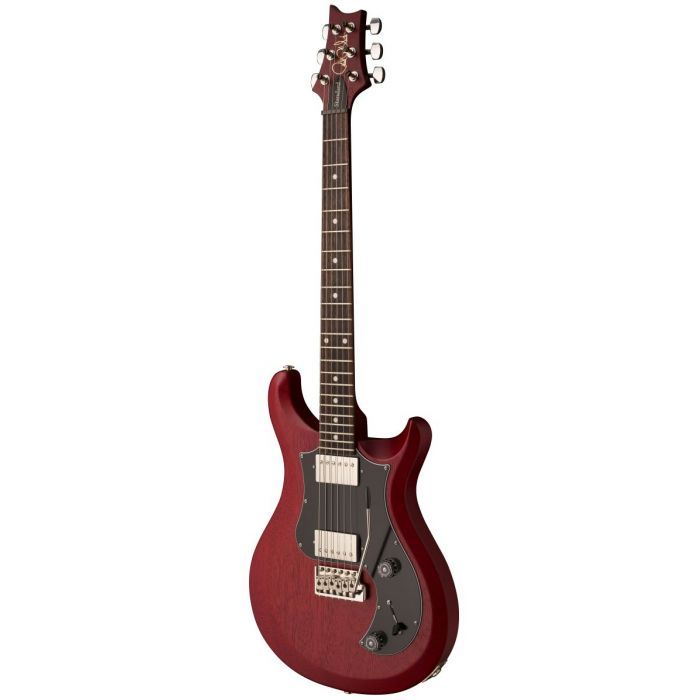 Front right angled view of a PRS S2 Satin Standard 22 Electric Guitar Vintage Cherry
