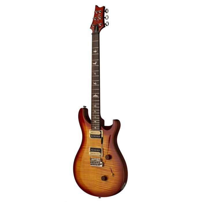 Frotn angled view of a PRS SE Custom 24 Vintage Sunburst Electric Guitar