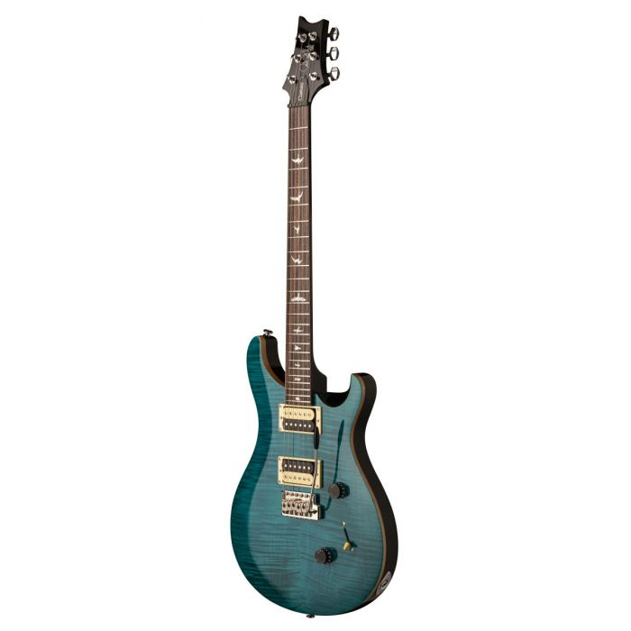 Front angled view of a PRS SE Custom 24 Sapphire Electric Guitar