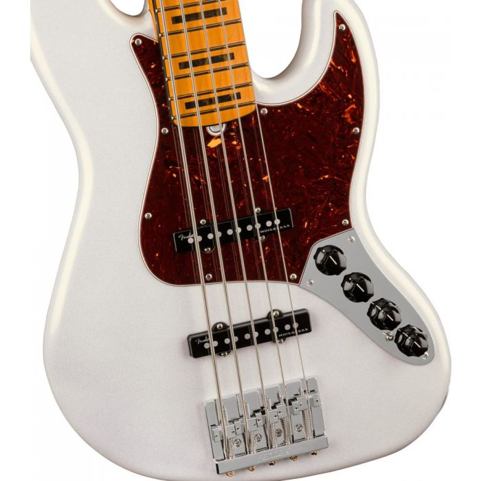 Closeup view of the front of a Fender American Ultra Jazz Bass V MN Arctic Pearl