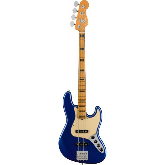 Full frontal view of a Fender American Ultra Jazz Bass MN Cobra Blue