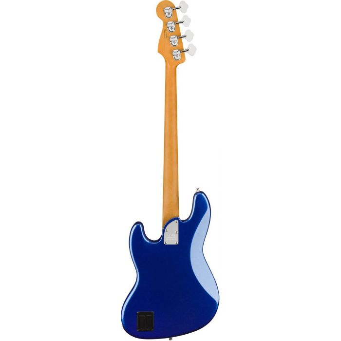 Full rear-sided view of a Fender American Ultra Jazz Bass MN Cobra Blue