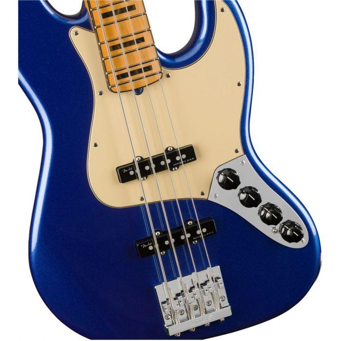 Closeup front view of a Fender American Ultra Jazz Bass MN Cobra Blue