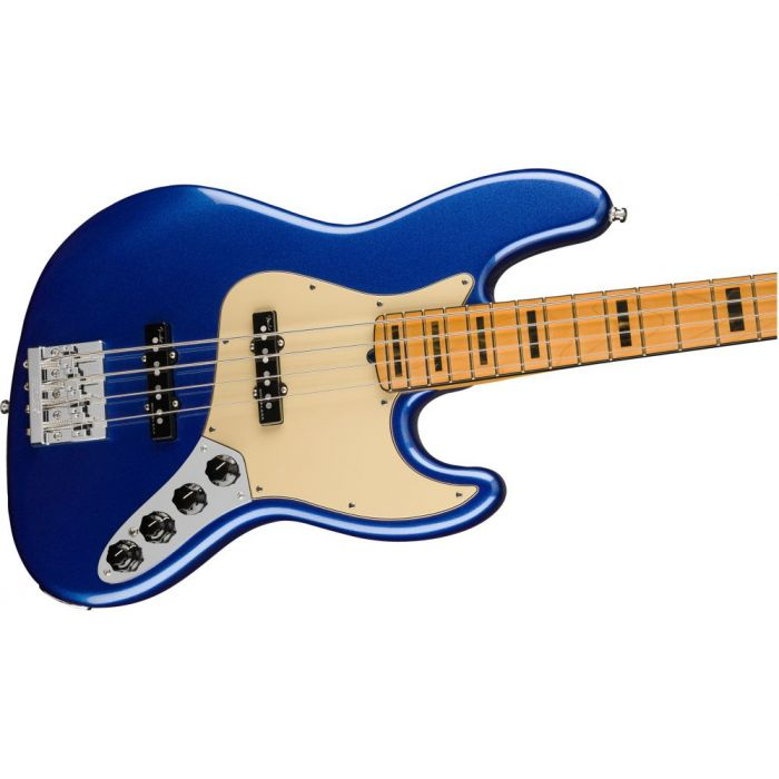 Front angled view of a Fender American Ultra Jazz Bass MN Cobra Blue