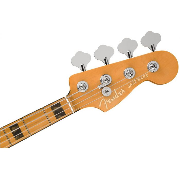 Front view of the headstock on a Fender American Ultra Jazz Bass MN Cobra Blue