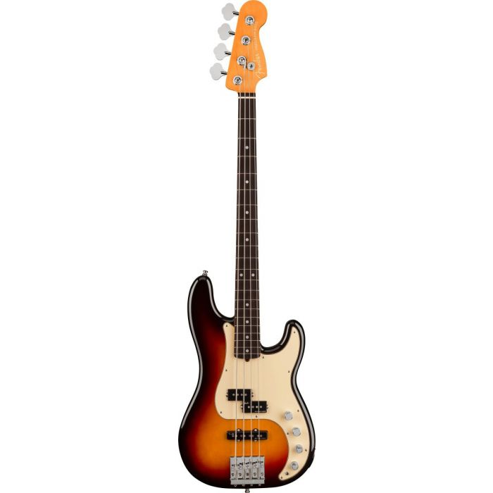 Frull frontal view of a Fender American Ultra Precision Bass RW Ultraburst