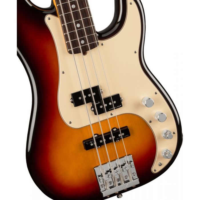 Closeup front view of a Fender American Ultra Precision Bass RW Ultraburst