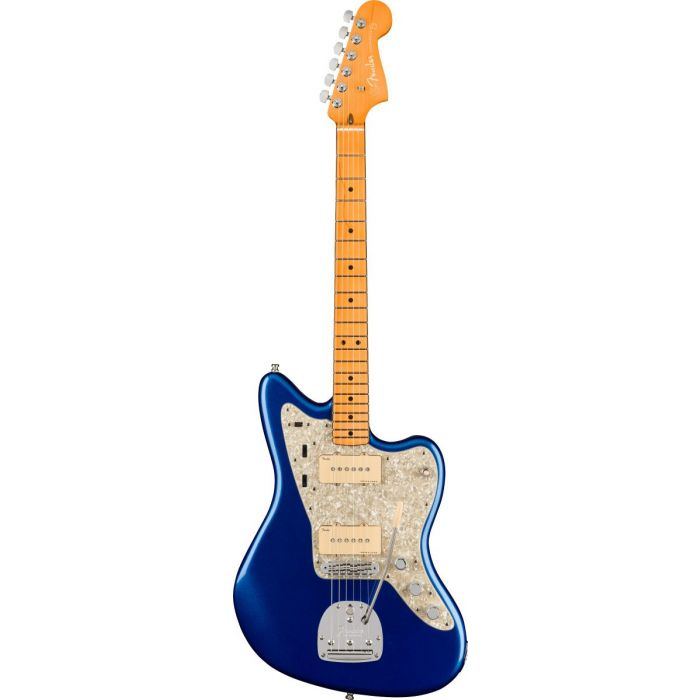 Full frontal view of a Fender American Ultra Jazzmaster MN Cobra Blue