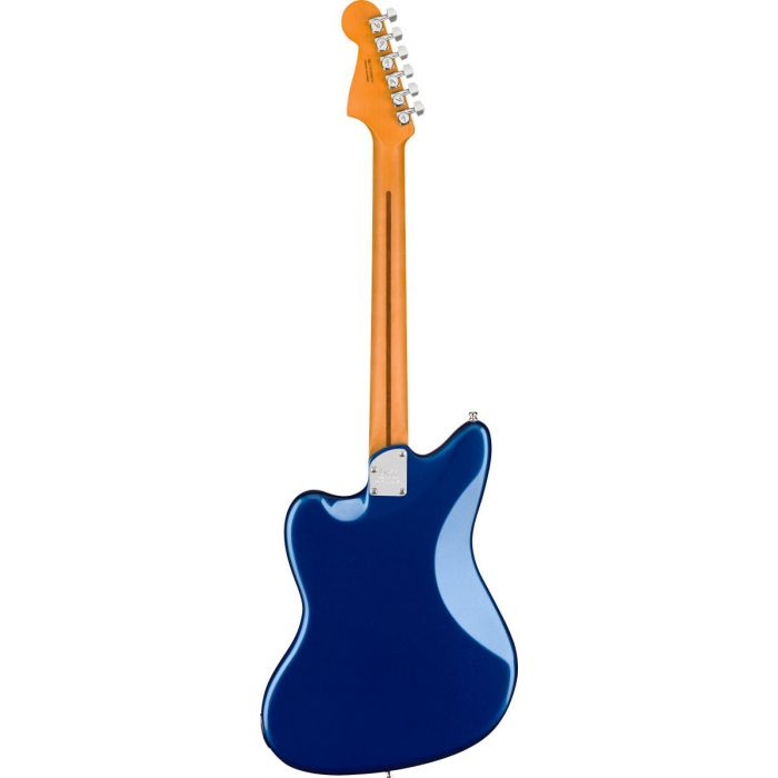 Full rear-sided view of a Fender American Ultra Jazzmaster MN Cobra Blue