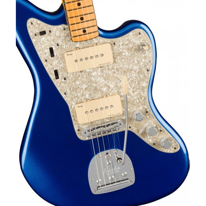 Front closeup view of a Fender American Ultra Jazzmaster MN Cobra Blue