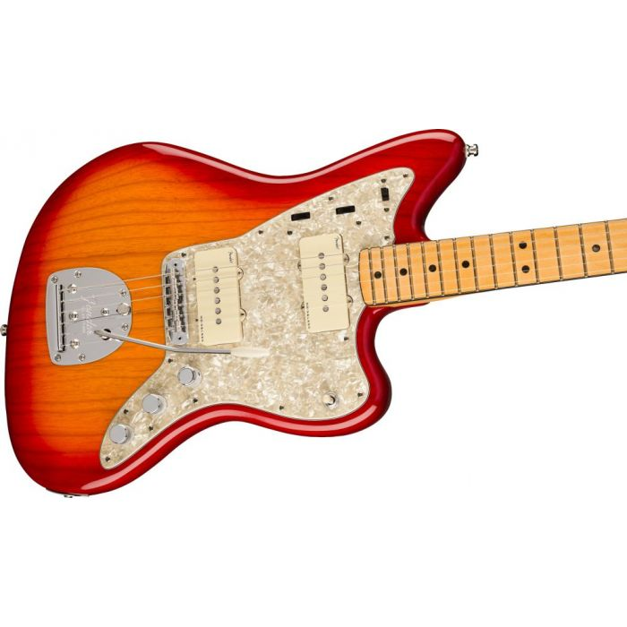 Front angled view of a Fender American Ultra Jazzmaster MN Plasma Red Burst