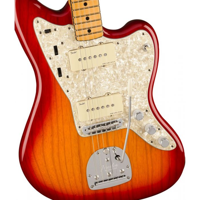 Front closeup view of a Fender American Ultra Jazzmaster MN Plasma Red Burst