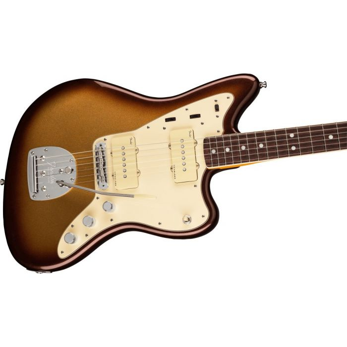 Fornt angled view of a Fender American Ultra Jazzmaster RW Mocha Burst
