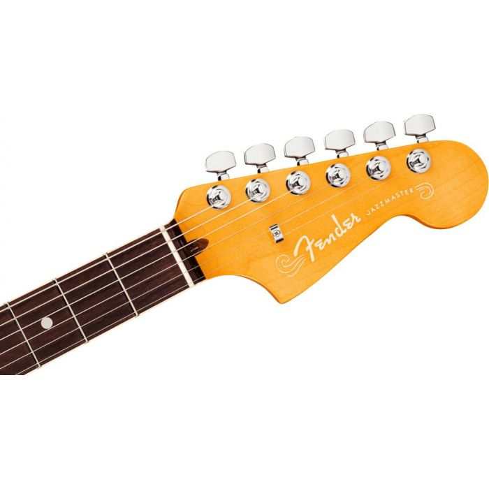 Front view of the headstock on a Fender American Ultra Jazzmaster RW Mocha Burst