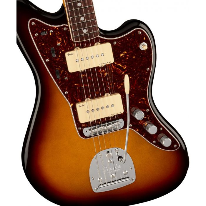 Front closeup view of a Fender American Ultra Jazzmaster RW Ultraburst