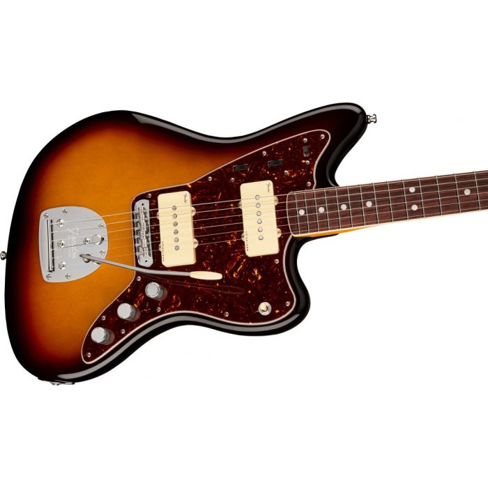 Front angled view of a Fender American Ultra Jazzmaster RW Ultraburst