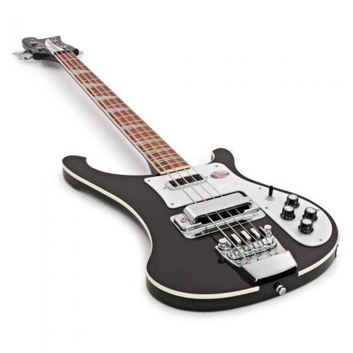 Front angled view of a Rickenbacker 4003 Electric Bass Guitar with a Jetglo finish