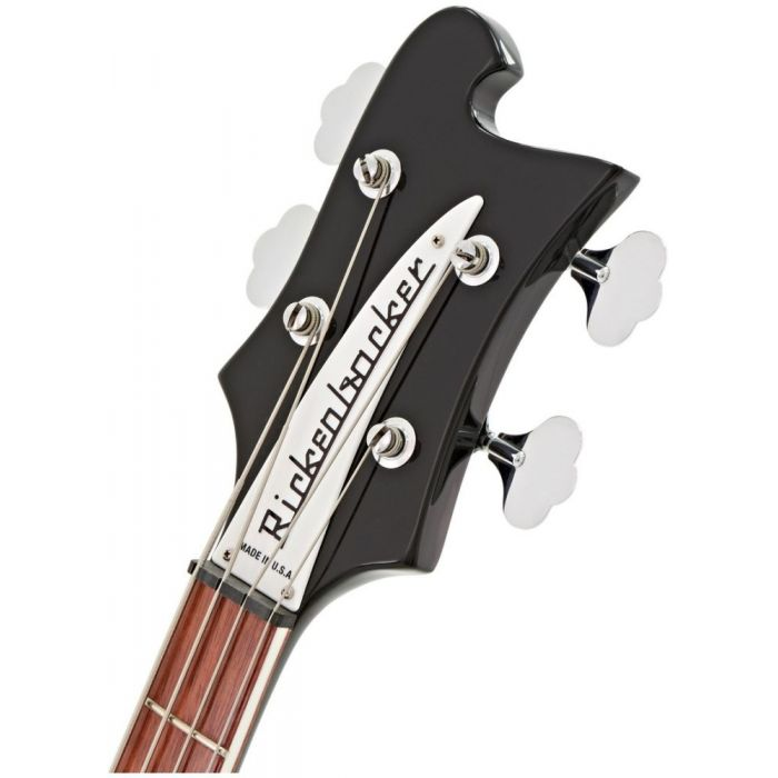 Closeup front view of the headstock on a Rickenbacker 4003 Electric Bass Guitar Jetglo